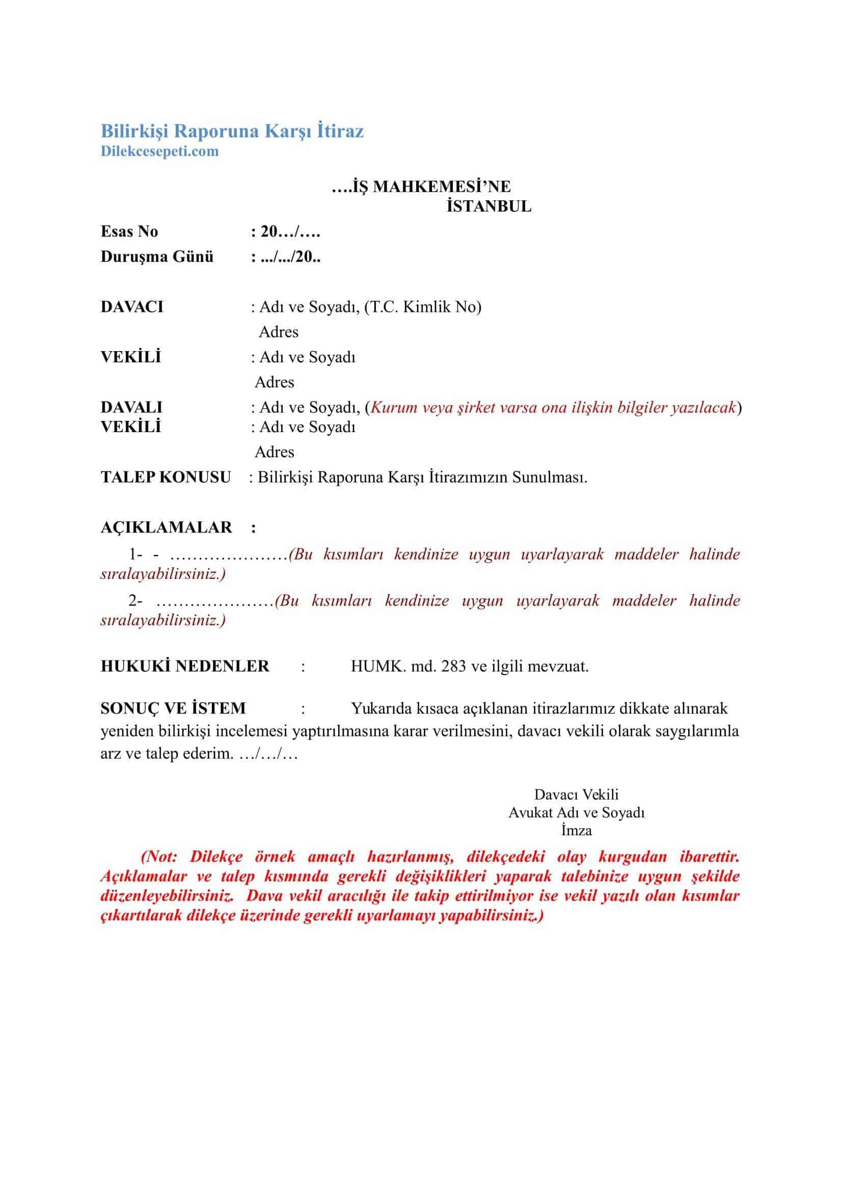 Bilirkişi raporuna itiraz dilekçesi iş mahkemesi için