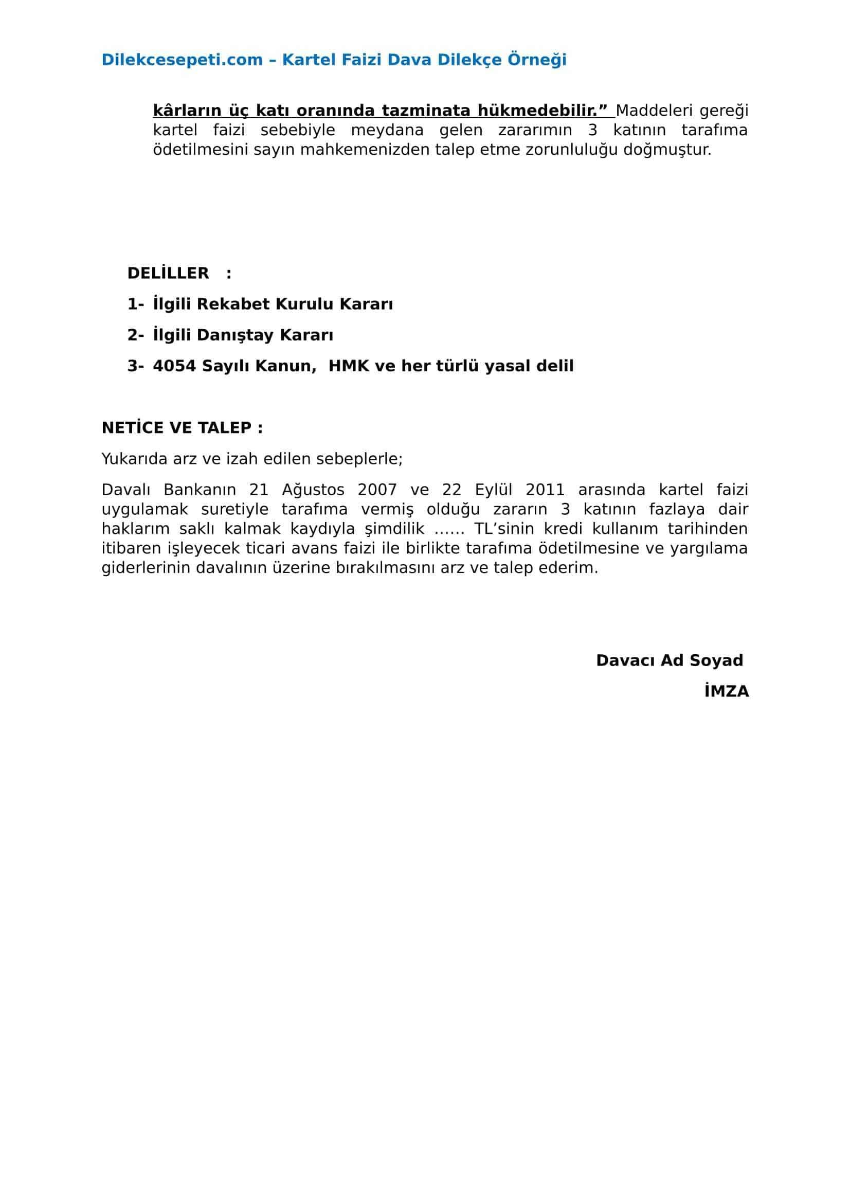 Banka Kartel Faizi iadesi için dava dilekçesi örneği