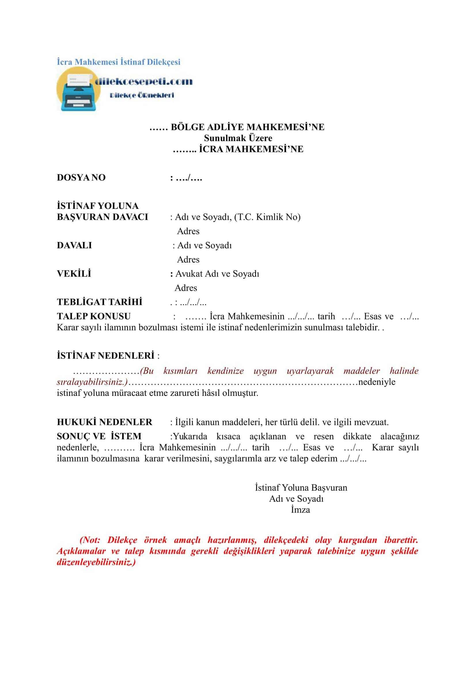 İcra Mahkemesi İstinaf Dilekçesi