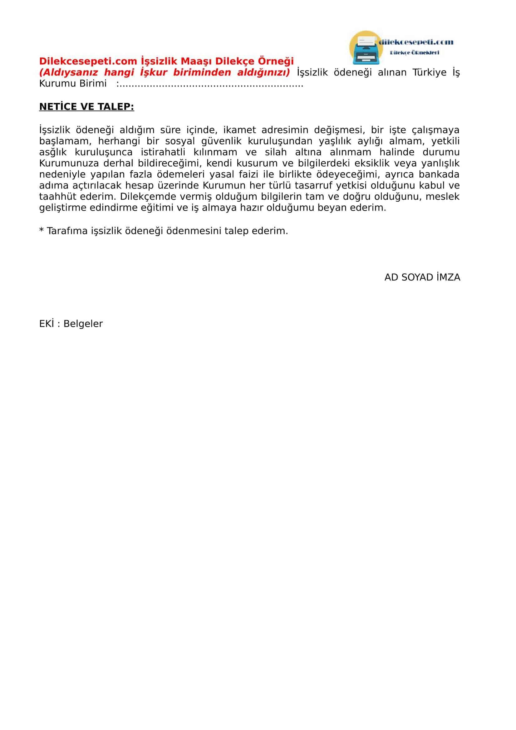 işsizlik maaş dilekçesi 2. sayfa