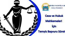 Ceza Ve Hukuk Mahkemeleri İçin Temyiz Başvuru Süresi