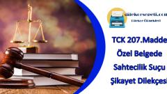 TCK 207 Madde : Özel Belgede Sahtecilik Suçu Dilekçe Örneği