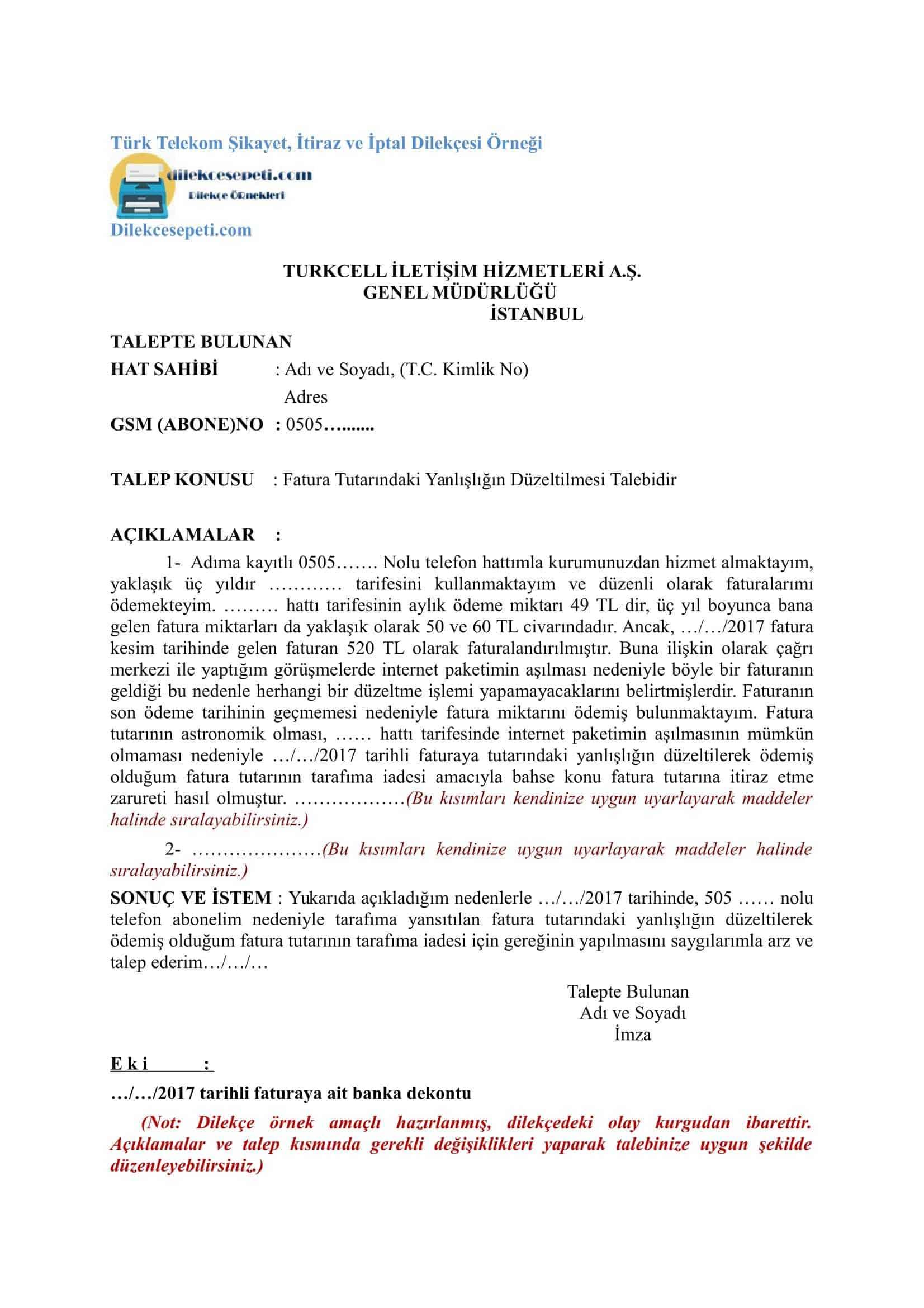 Turk Telekom Internet Aboneligi Iptal Dilekce Ornegi