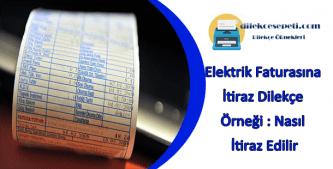 elektrik faturası itiraz dilekçesi