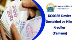 KOSGEB Devlet Destekleri ve Hibe Krediler (Tamamı)