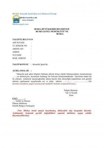 Buski Abonman iptal dilekçesi