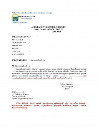 Ankara Büyükşehir abonelik iptali dilekçesi