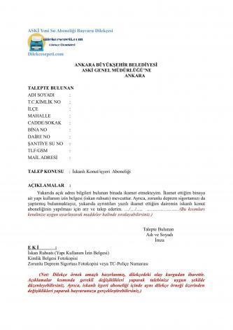 Ankara Büyükşehir Su aboneliği dilekçesi