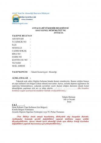 Yeni su aboneliği başvurusu dilekçesi ASAT