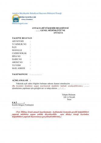 Antalya Büyükşehir Belediyesi Genel Müdürlüğüne Dilekçe