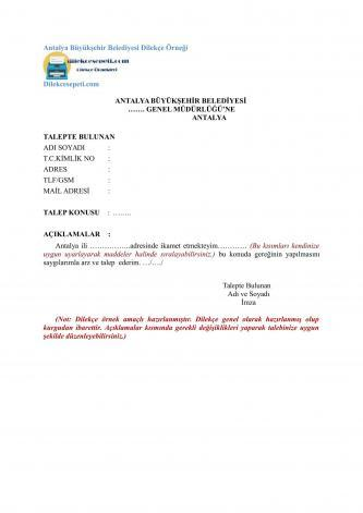 Antalya Büyükşehir talep dilekçesi
