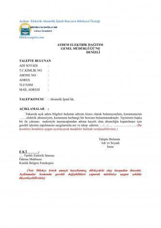 Aydem elektrik abonelik iptal başvurusu dilekçesi