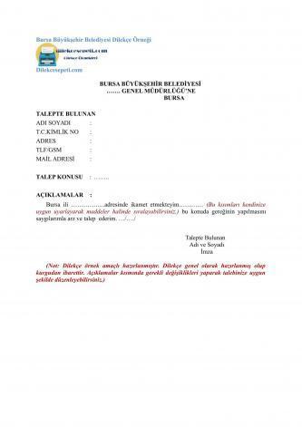 Bursa büyük şehir belediyesi için dilekçe
