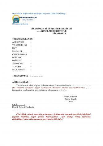 diyarbakır belediyesi için başvuru dilekçesi