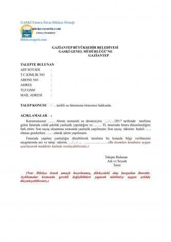 Gaziantep Su ve Kanalizasyon GASKİ fatura itiraz dilekçe örneği