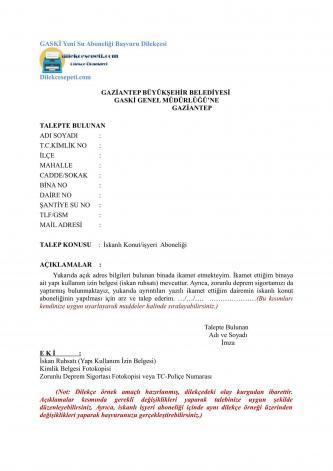 Gaziantep su ve Kanalizasyon Abonelik başvurusu GASKİ