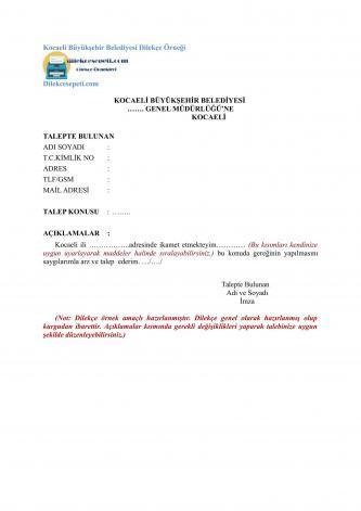 kocaeli belediyesi dilekçeleri
