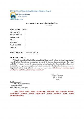 eneryagaz abonelik iptal başvursu