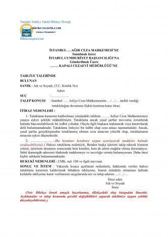 tutuklu tahliye talebi dilekçesi