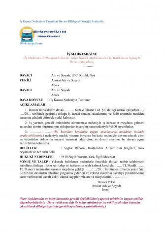 avukatlar için iş kazası tazminat dilekçesi