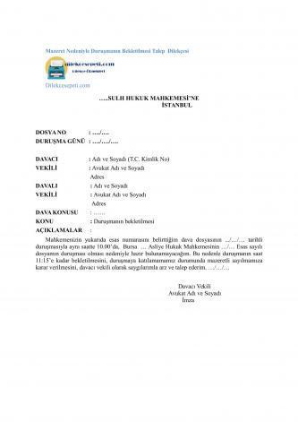 Mahkeme mazeret dilekçesi duruşma için